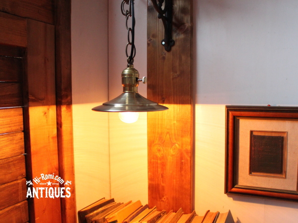 真鍮ソケット/シェード吊下ランプ/アンティークペンダントライト