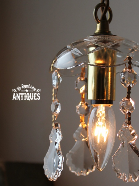 USAヴィンテージガラス製フレンチカットプリズムミニシャンデリア/アンティークランプ