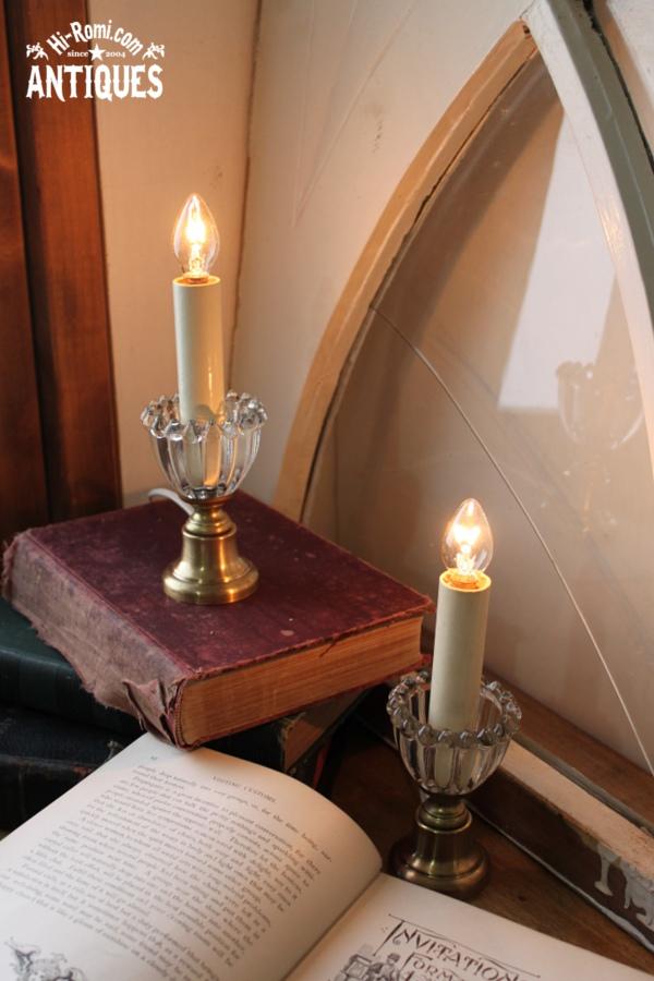 USAヴィンテージクリアガラスホブネイルキャンドルミニテーブルランプA/アンティークランプ
