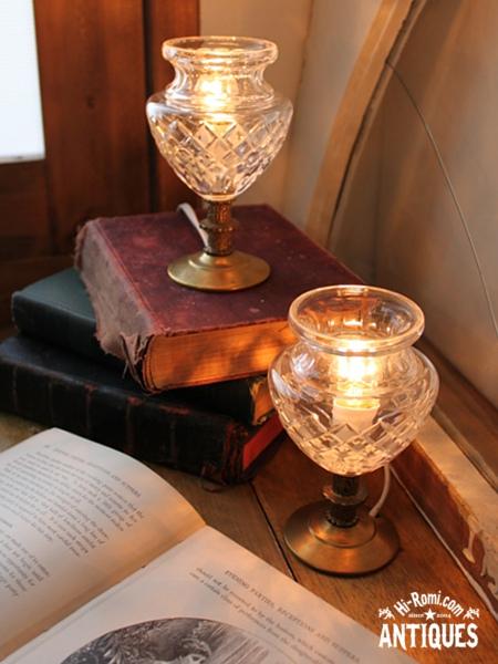 USAヴィンテージガラスシェードカップテーブルランプB/アンティークゴブレット卓上ライト