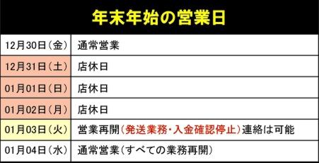 2011年12月31日~2012年1月2日まではお休みです。年末年始の営業日のお知らせ