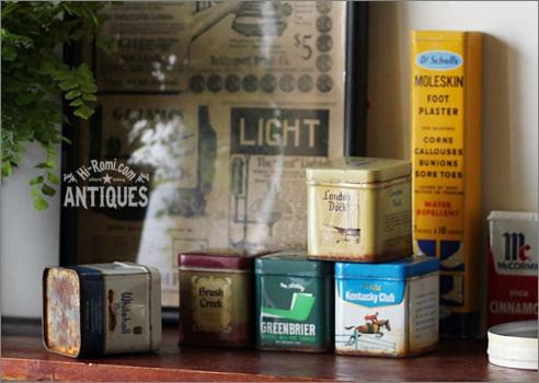 アメリカンアンティーク&ヴィンテージのティン缶、薬缶、ピルケース、小物入れなど。