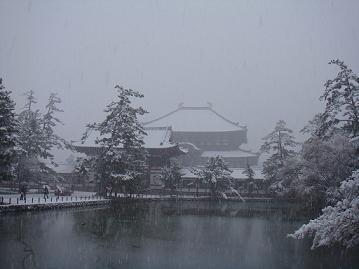 お池のとこからも雪景色