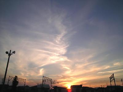 夕陽@ピボット駐車場(会津若松)