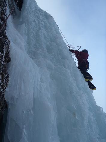 大同心大滝を登る