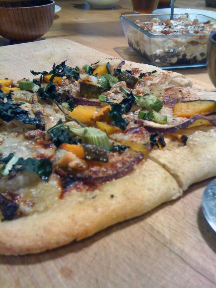 Sweet potato, kabocha pumpkin and kale pizza