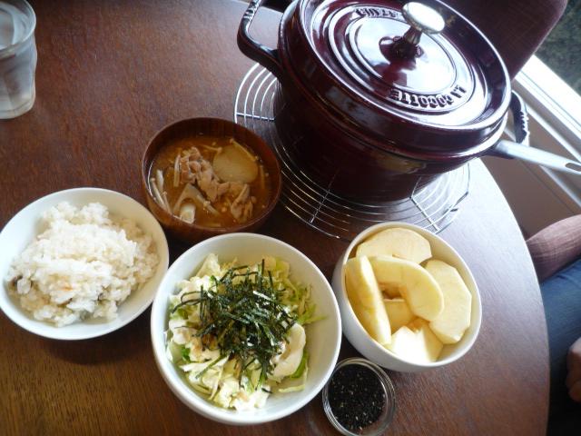 豚汁・青肌豆ご飯