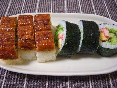 うなぎの押し寿司&サラダ巻き寿司♪