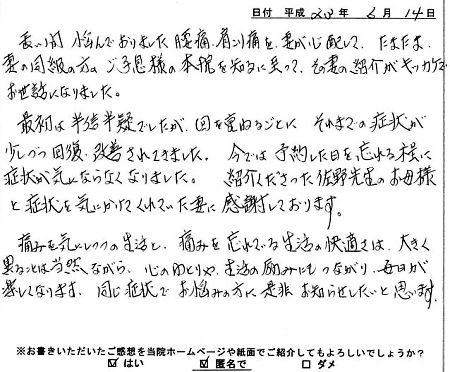 佐野カイロに寄せられた患者さんの声 K.I.さん 60代 男性