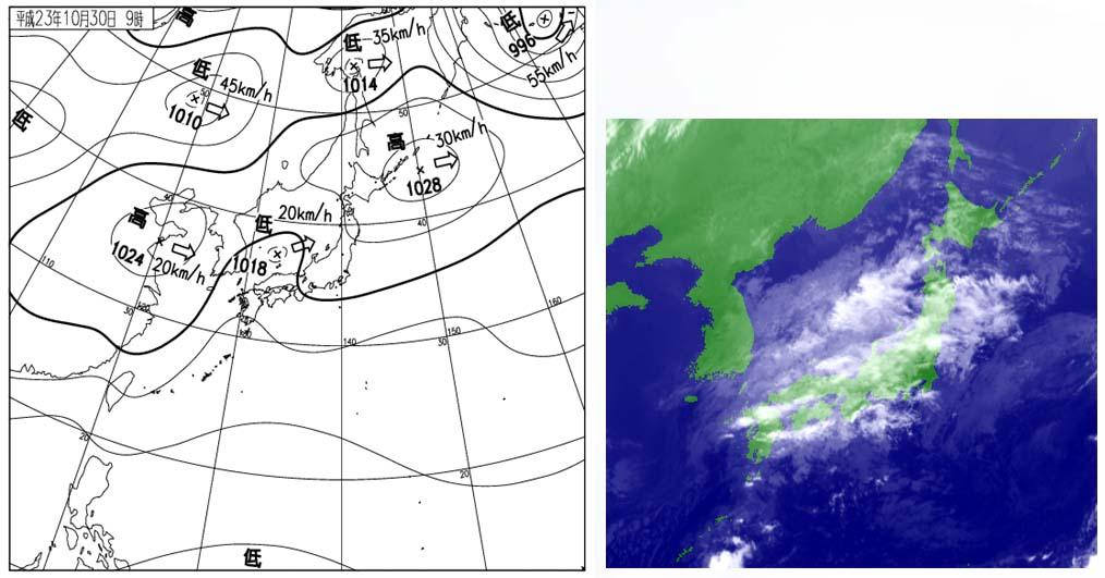 30日09時の天気図と衛星赤外画像