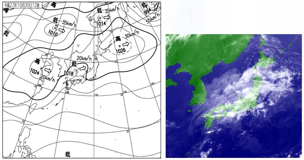 30日12時の天気図と衛星赤外画像