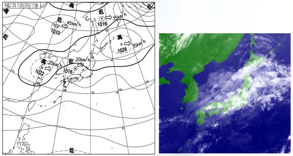 30日15時の天気図と衛星赤外画像