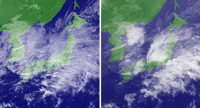 11月06日12時の衛星画像(可視と赤外)