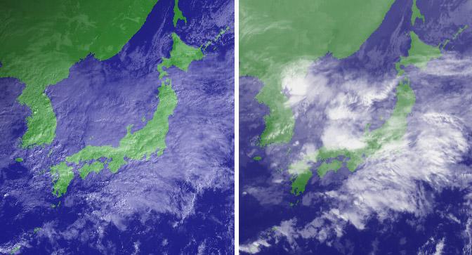 11月06日09時の衛星画像(可視と赤外)