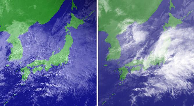 11月06日15時の衛星画像(可視と赤外)