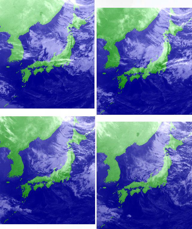11月15日09時~18時の衛星画像(赤外)
