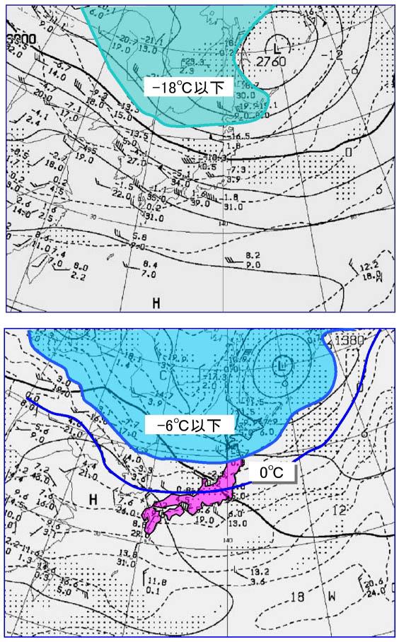 11月15日の700及び850hPa天気図