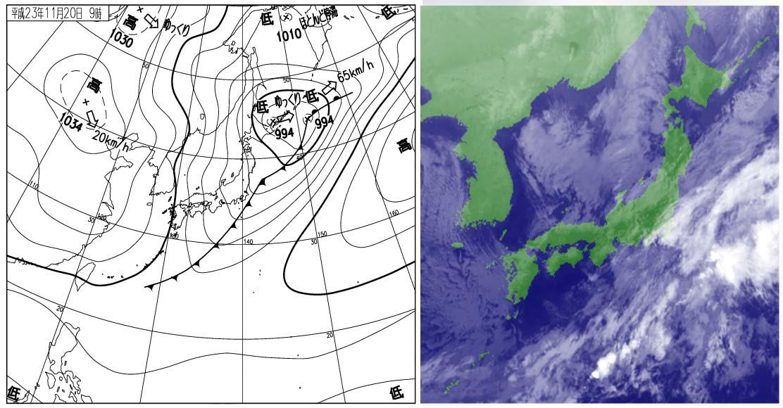 2011年11月20日09時の地上天気図と衛星雲画像