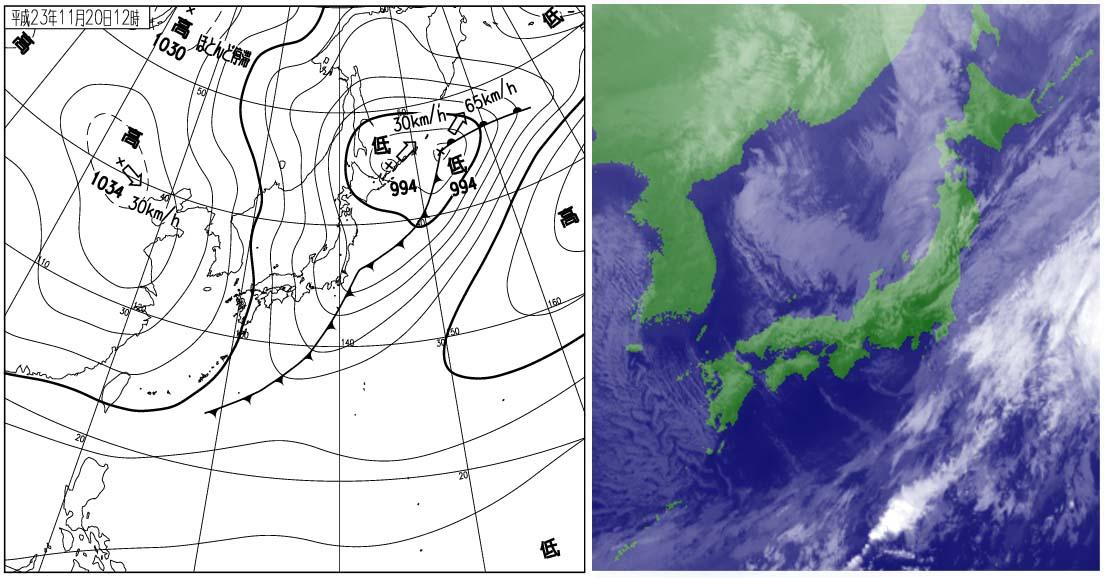 2011年11月20日12時の地上天気図と衛星雲画像
