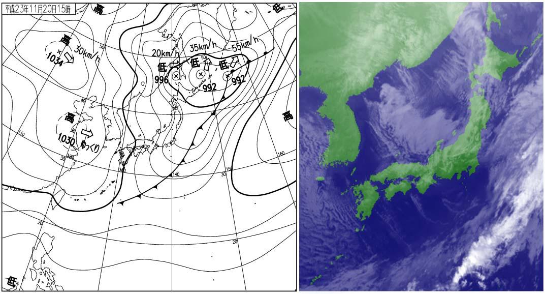 2011年11月20日15時の地上天気図と衛星雲画像
