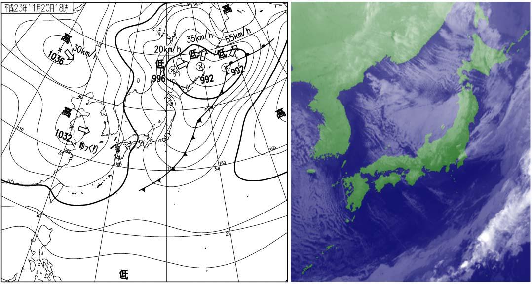 2011年11月20日18時の地上天気図と衛星雲画像