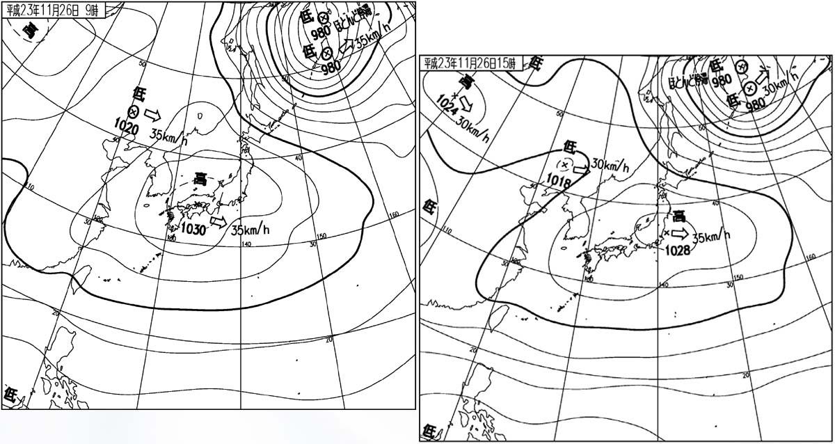 26日の地上天気図(09時と15時)