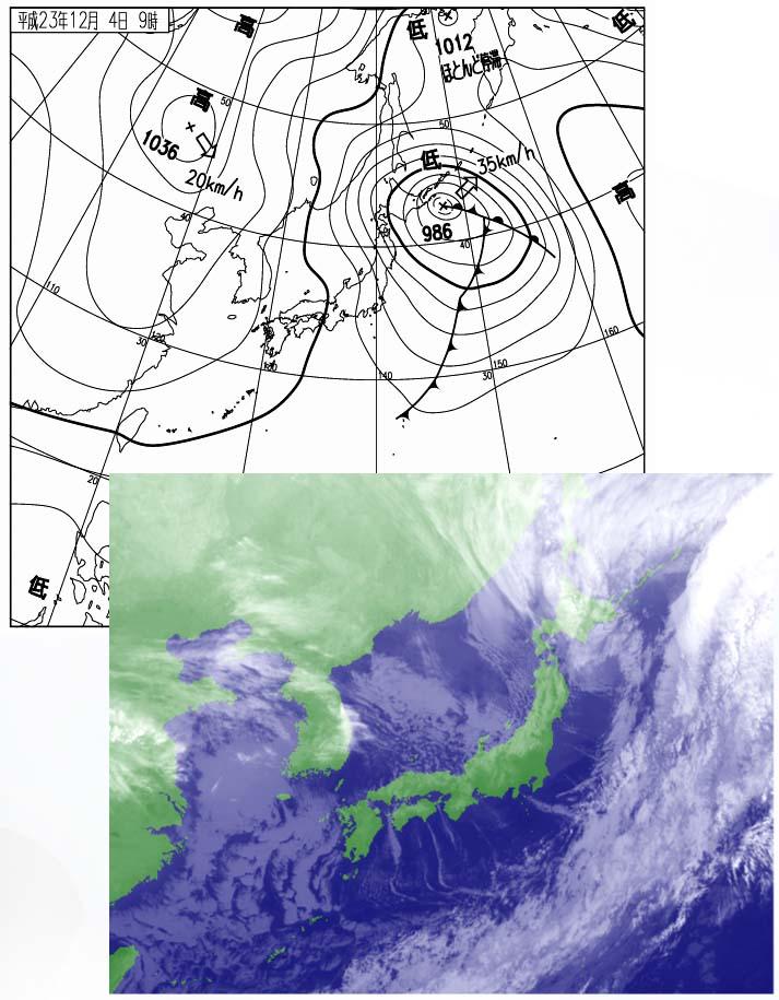 12月4日09時の地上天気図と衛星画像