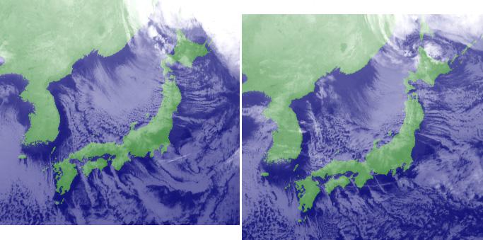 2011月12月23日9時と21時の衛星画像(赤外)