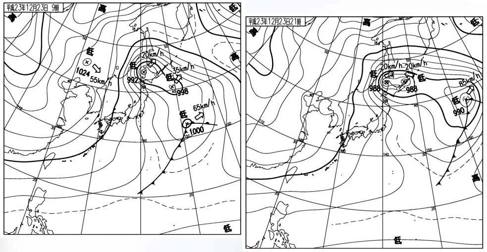 2011月12月23日9時と21時の地上天気図