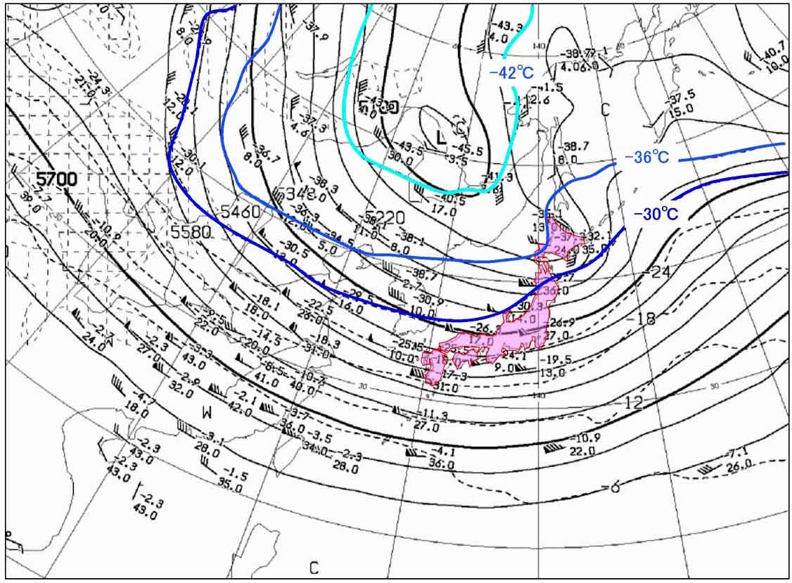2011月12月23日9時の500hP(上空の寒気)