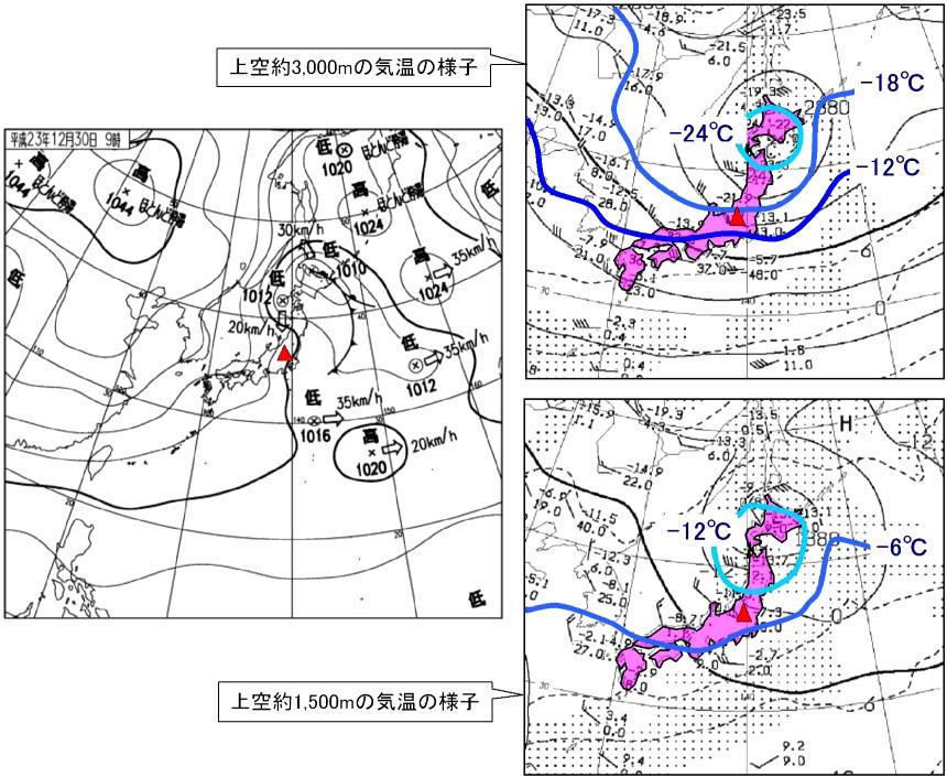 2011年12月30日の谷川岳と天気図