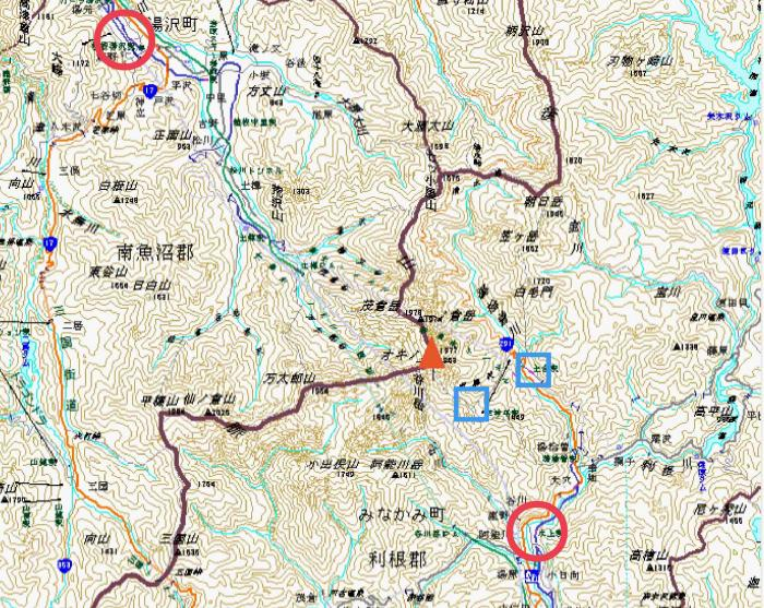 谷川岳周辺地図(湯沢と水上)