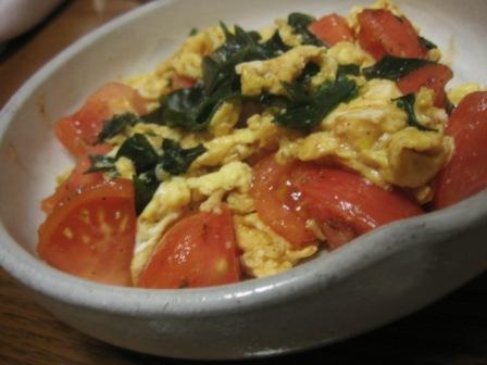080207 トマト・卵・わかめのオイスターソース炒め