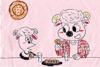 ビスケットを食べる羊の親子