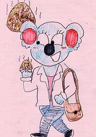 焼きおにぎりを食べるコアラ