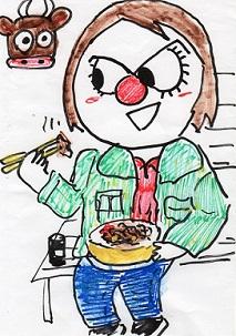 牛丼弁当を食べる女