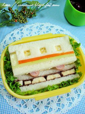 電車のサンドイッチ弁当