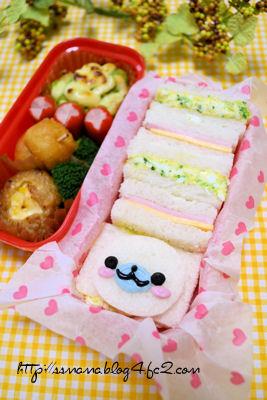 まめゴマちゃん入りサンドイッチ弁当