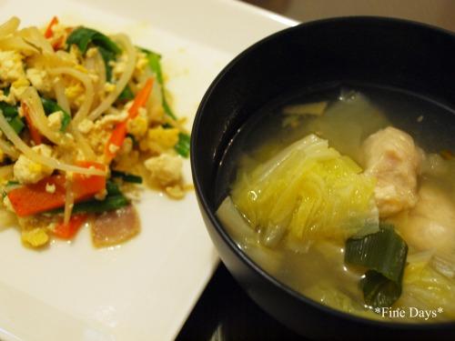 チャンプルー&白菜スープ