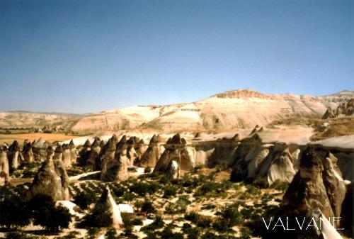 トルコ、ゼルヴェ野外博物館のしめじ岩