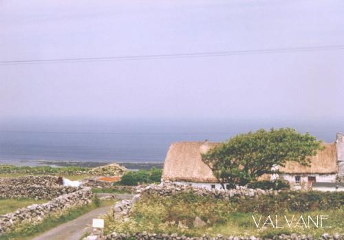 アイルランド、イニシュモア島の藁葺き屋根の家