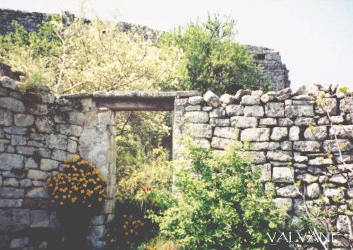 フランス、ラコストの畑と城の残骸と