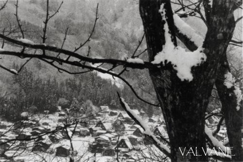 日本、雪の合掌造り集落
