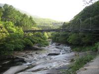 鮎もどし自然公園-川から吊り橋を臨む