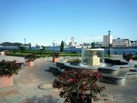 噴水から見えるバラと軍港
