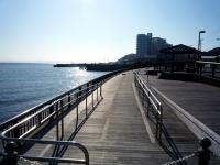 ウッドデッキが気持ちよい港湾緑地