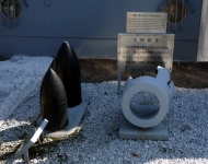 黄海海戦で被弾した主砲砲身と砲弾