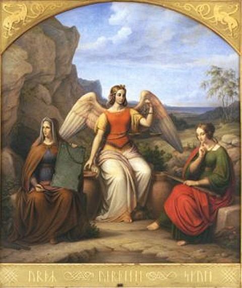 19世紀のデンマークの画家J.L.ルンドによる、ノルンを描いた絵画