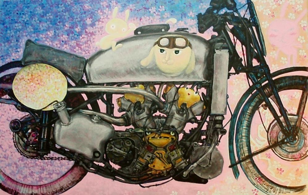 月夜桜とオートバイ