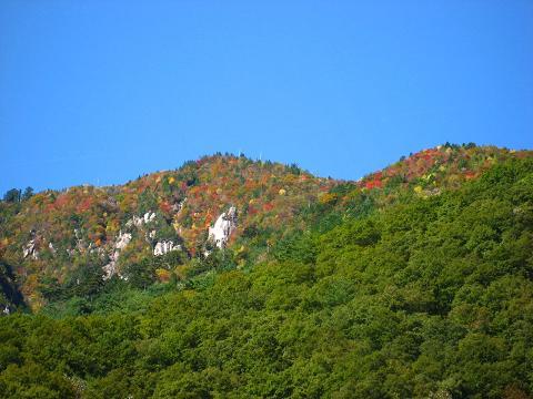 カラフルに色付く山